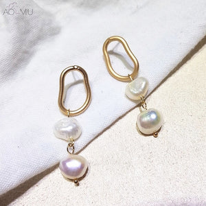 Golden Hoops with Pearls - Cokota