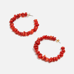 Red Stone Hoops - Cokota