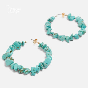 Blue Stones Hoops - Cokota