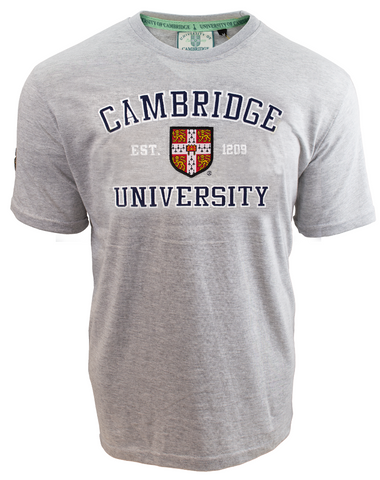 Licensed Unisex Cambridge University Applique Embroidery T Shirt Grey - British Heritage Brands