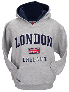London England Kids Hoodie Hooded Sweatshirt Grey Colour (LE129K)