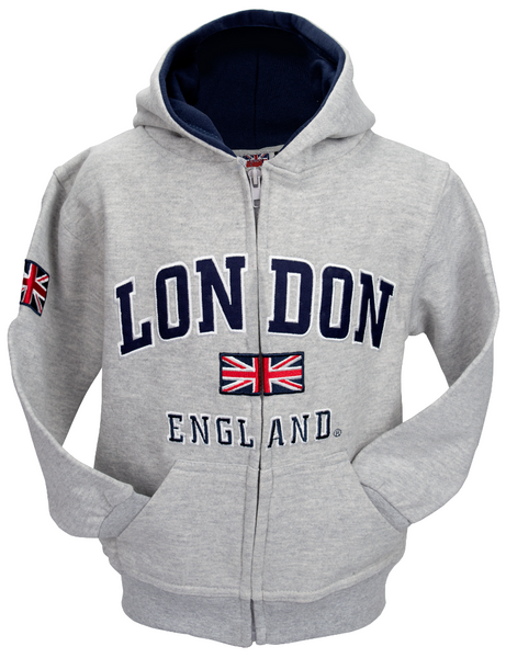 London England Kids Zipped Hoodie Hooded Sweatshirt Grey Colour (LE129KZ) - British Heritage Brands