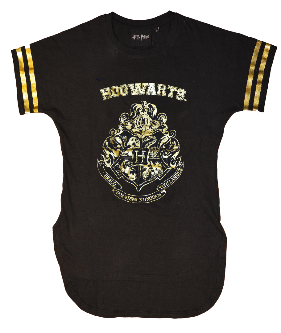 Ladies Gold Print Harry Potter T Shirt Hogwarts