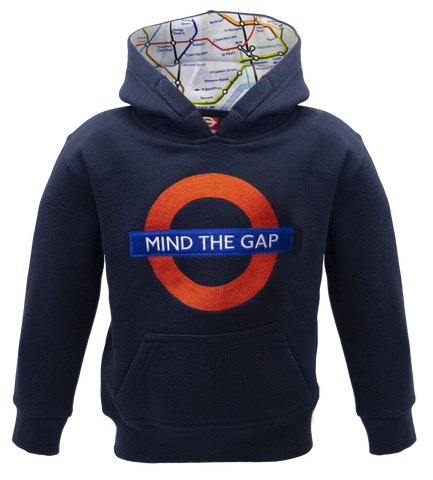 TFL129K Kids Licensed Chain Stitch Embroidery Mind the Gap Hoodie Navy