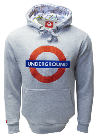 TFL129 Licensed Unisex Underground Embroidered Hooded Sweatshirt - British Heritage Brands