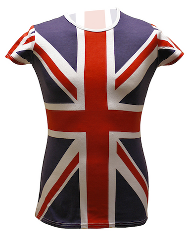 SF204 Union Jack Allover Print Girls T Shirt - British Heritage Brands