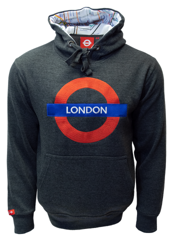 TFL129 Licensed Unisex London Roundel Embroidered Hooded Sweatshirt - British Heritage Brands