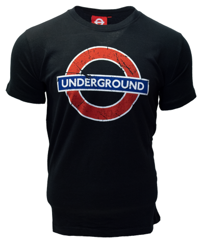 Licensed TFL101KUND Kids Unisex London Undergound T Shirt Black