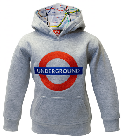 TFL129K Kids Licensed Chain Stitch Embroidery Underground Hoodie Grey