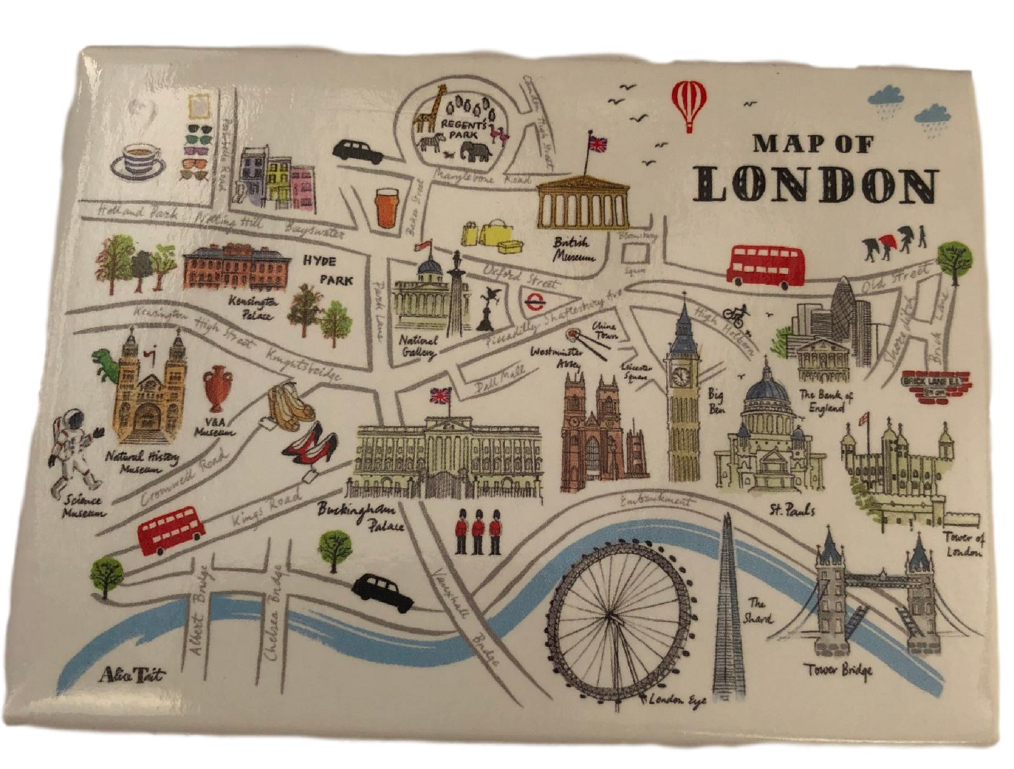 Alice Tait Artistic Map of London Fridge Magnet - British Heritage Brands