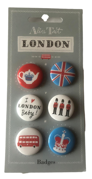 Alice Tait Set of 6 Pin Badges, Union Jack flag, Queens Guard, Bus, Crown, and More - British Heritage Brands