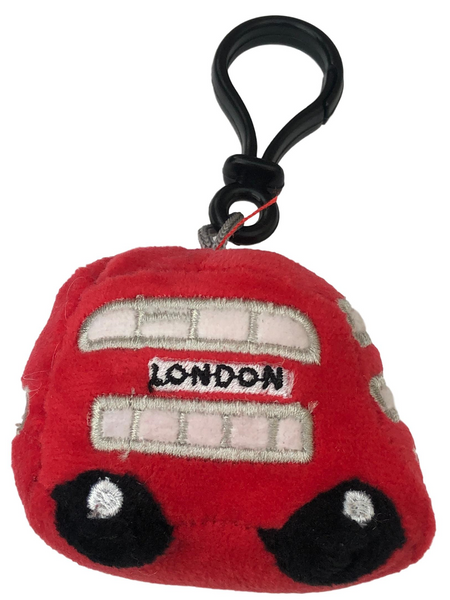 London Red Bus Plush Keyring Embroidered