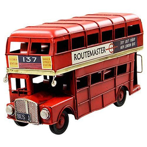 Collectable London Transport Red Tin Double Decker London Bus - Vintage Transport Collection 28cm