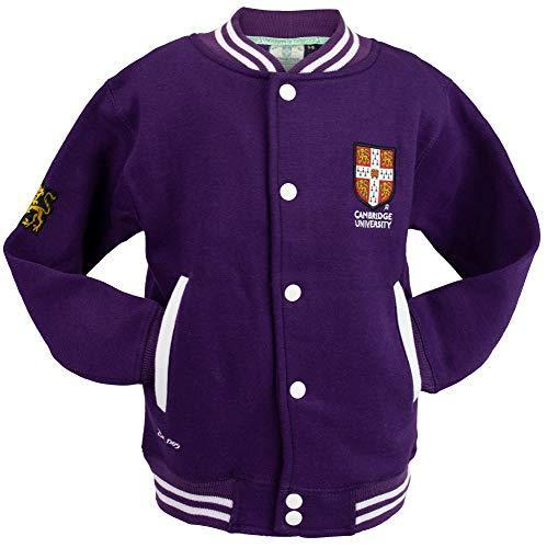 Cambridge University Official Licensed Kids Unisex Baseball Varsity Jacket Colour Purple (11-13)