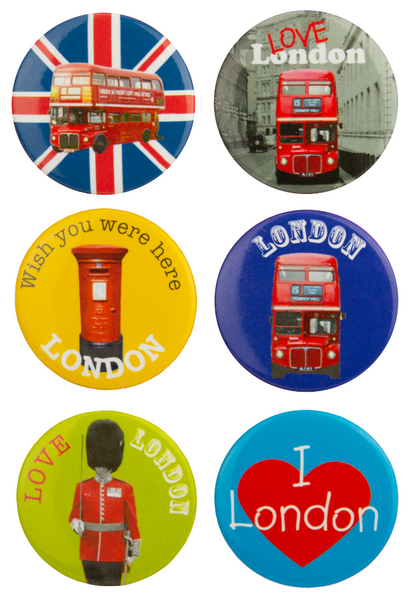 London Pin Badges Set of 6 with Bus, Post Box, Queens Guard, Perfect for Backpack