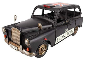 GWCC Vintage Classic London Black Taxi Cab, 32cm, Old Look with Union Jack on Top