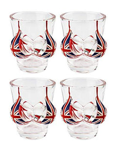 Union Jack Flag Bra Shot Glasses Set of 4 - British Flag, England