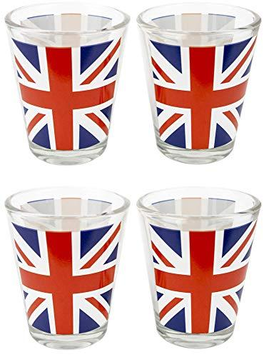 Set of 4 Union Jack Flag Shot Glasses British UK