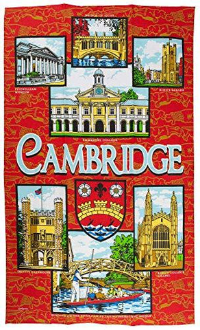British Heritage Brands Classic Cambridge Iconic Colleges Kings, Trinity, Punting Tea Towel