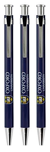 Official Licensed Set of 3 Oxford University Pens with Printed Crest Shield