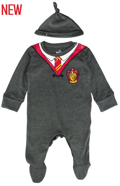 Licensed Harry Potter Baby Romper Baby Grow with Hat Gryffindor for Boy or Girl (0-3 Months) Charcoal