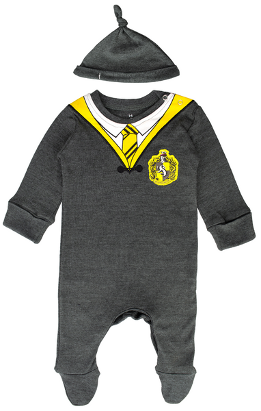 Licensed Harry Potter Baby Romper Baby Grow with Hat Hufflepuff for Boy or Girl Gift Set