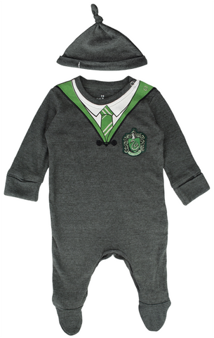 Licensed Harry Potter Baby Romper Baby Grow with Hat Slytherin for Boy or Girl (0-3 Months) Charcoal