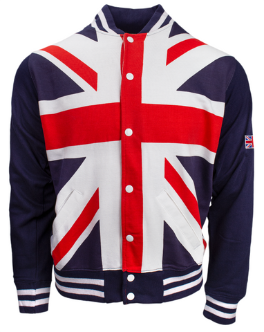 Union Jack Flag Varsity Baseball Jacket Sweatshirt Top Pop Up Buttons British