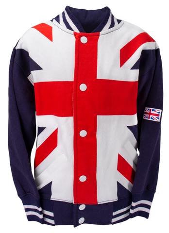 Union Jack Flag Kids Unisex Varsity Baseball Jacket Sweatshirt Top Pop Up Butto