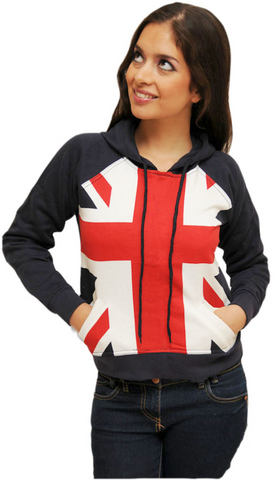 SW160 Ladies/Girls Union Jack Flag Summer Hoodie Hooded Sweatshirt British UK (s) Navy
