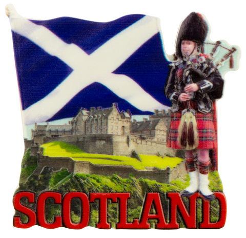Scotland with Piper/Castle Printed Resin Fridge Magnets Scottish Highlands Flag