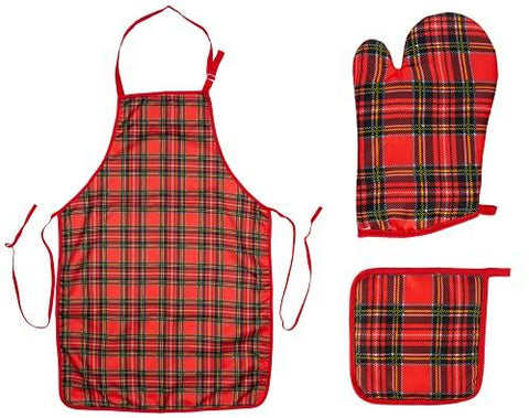 Set of 3 Royal Scottish Tartan Apron Oven Pot Holder Set Scotland Kitchen
