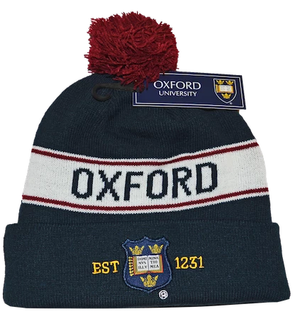 OUB102 Licensed Unisex Oxford University Pom Pom Ski Hat Navy - British Heritage Brands