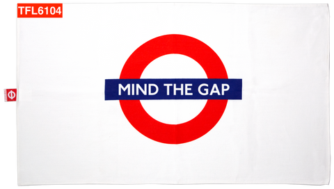 TFL6104 Licensed Mind the Gap Roundel Print Tea Towel - British Heritage Brands