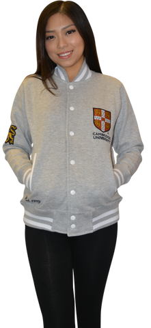 CU170 Licensed Cambridge University Unisex Varsity Jacket Sports Grey Colour - British Heritage Brands