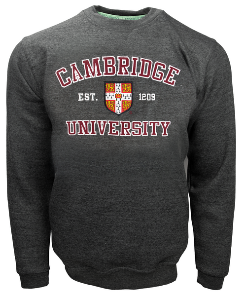 Licensed Cambridge University Unisex Sweatshirt Charcoal Colour - British Heritage Brands