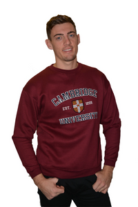 Licensed Cambridge University Unisex Sweatshirt Maroon Colour - British Heritage Brands