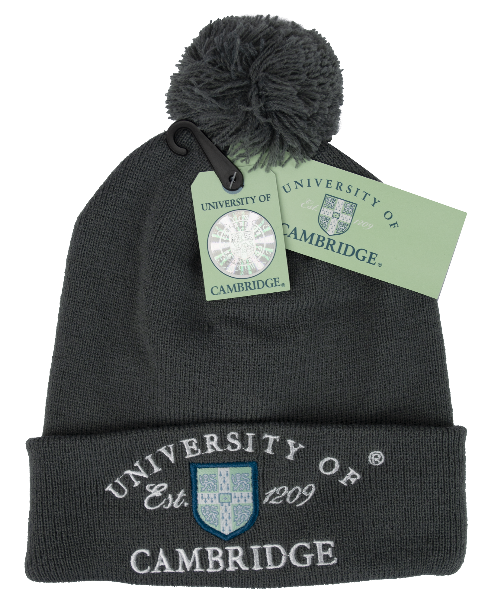 Licensed Cambridge University Pom Pom Beanie Ski Hat Charcoal Colour - British Heritage Brands
