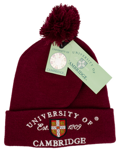 Licensed Cambridge University Pom Pom Beanie Ski Hat Maroon Colour - British Heritage Brands