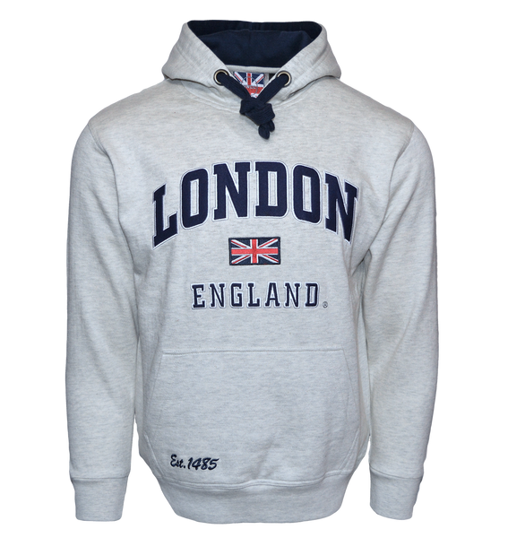 LE129GN Unisex London England Hoodie Hooded Sweatshirt Grey Navy XS-2XL - British Heritage Brands