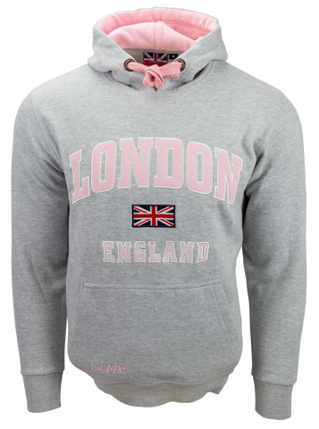 Unisex London England Hoodie Hooded Sweatshirt Grey Baby Pink New 2020 Colour - British Heritage Brands
