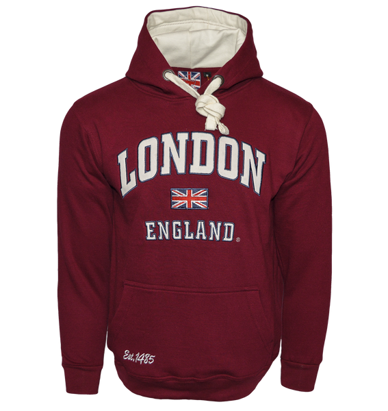 LE129MOW Unisex London England Hoodie Hooded Sweatshirt Maroon off white XS-2XL - British Heritage Brands
