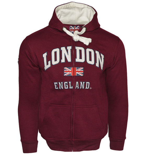 LE129ZMOW Unisex London England Zipped Hooded Sweatshirt Maroon - British Heritage Brands