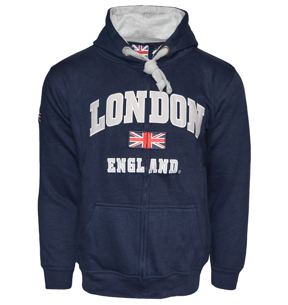 LE129ZNG Unisex London England Zipped Hoodie Hooded Sweatshirt Navy Grey XS-2XL - British Heritage Brands