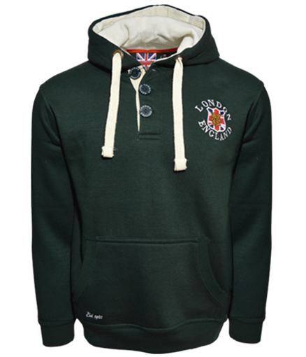 LE175 3 BUTTON LONDON ENGLAND HOODIE HOODED SWEATSHIRT - British Heritage Brands