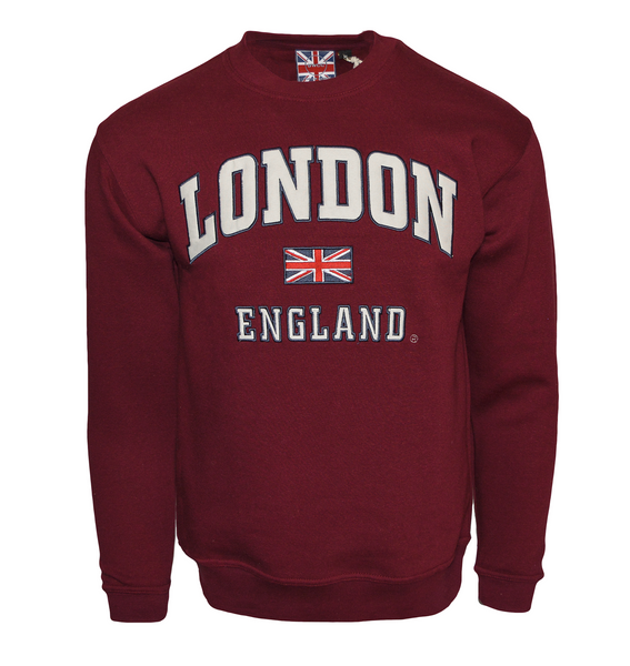 LE201MOW Unisex London England Sweatshirt Maroon Off White XS-2XL - British Heritage Brands