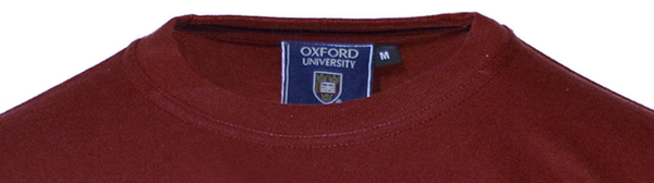 Unisex Oxford University Applique Embroidered T Shirt Maroon - British Heritage Brands