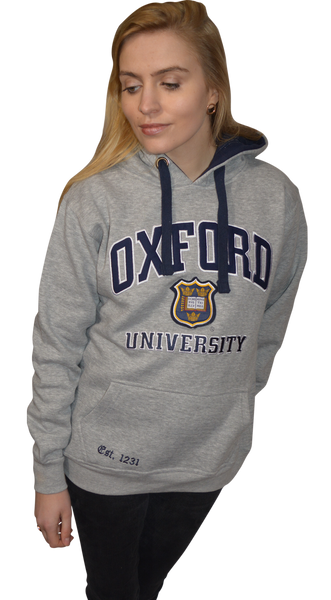 OU129 Licensed Unisex Oxford University Hooded Sweatshirt Grey - British Heritage Brands