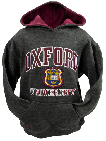 OU129K Kids Licensed Unisex Oxford University Hooded Sweatshirt Charcoal - British Heritage Brands