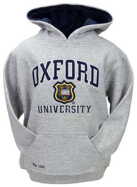 OU129K Kids Licensed Unisex Oxford University Hooded Sweatshirt Grey - British Heritage Brands